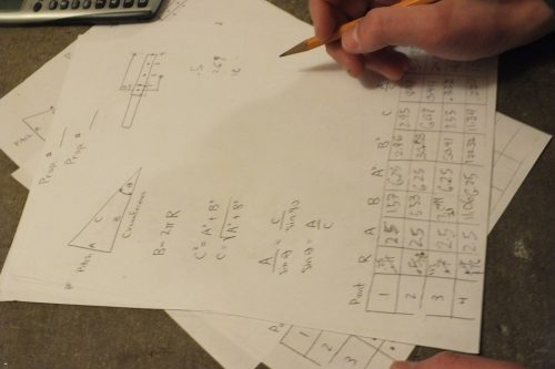 The team's form for calculating propeller pitch.
